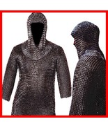 Medieval CHAINMAIL SHIRT LOTR, Blackened CHAIN MAIL Armor +COIF , Hot Xm... - $94.14