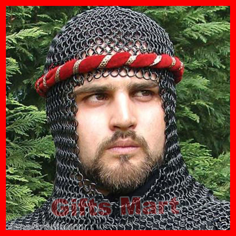 Medieval CHAINMAIL SHIRT LOTR, Blackened CHAIN MAIL Armor +COIF , Hot Xmas Gift
