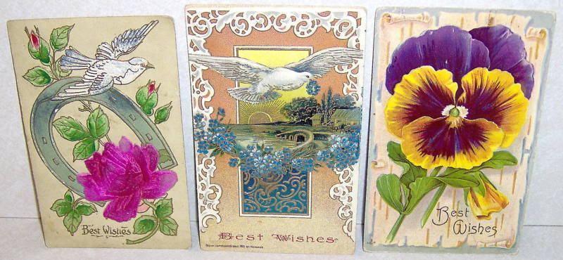 Lot 3 Vintage Early 1900's Best Wishes Postcards Dove Birds Flowers