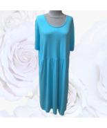 J Jill Short Sleeve Stretch Dress XL TALL turquoise Blue Pockets EUC - $49.00
