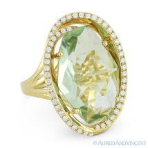 8.86ct Fancy Checkerboard Green Amethyst & Diamond 14k Yellow Gold Cockt... - £947.07 GBP