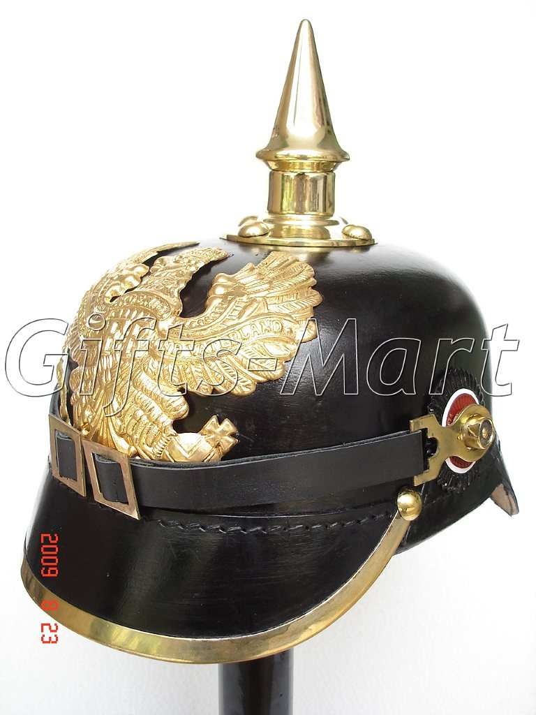 PRUSSIAN HELMET, LEATHER GERMAN WWii PICKELHAUBE SPIKED Costume Hat Lowest Price