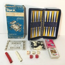 1950s Travel 5 Game Magnetic Set COMPLETE Chess Backgammon Checkers Card... - $9.89