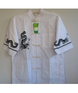 Chinese martial  kung fu unisex man black dragon white shirt button fron... - $14.99