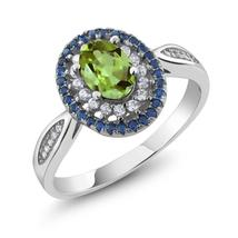 Solid 925 Sterling Silver Engagement Ring 1.40 cttw Oval Green Peridot W... - $86.38