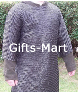 Riveted Chainmail Shirt Blackened Medieval Collectible Chain Mail Armor ... - $172.14