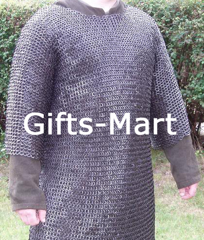 Riveted Chainmail Shirt Blackened Medieval Collectible Chain Mail Armor M Size