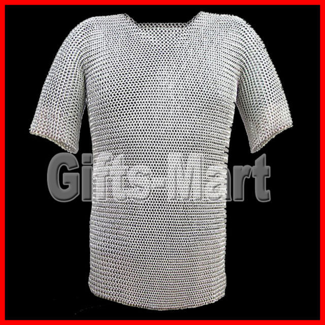 Riveted Chainmail Shirt Zink Plated Medieval Chain Mail Armor Costume M Size