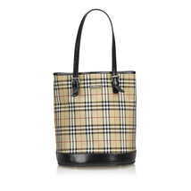 Vintage Burberry Brown Beige Canvas Fabric House Check Tote Bag United K... - $307.62