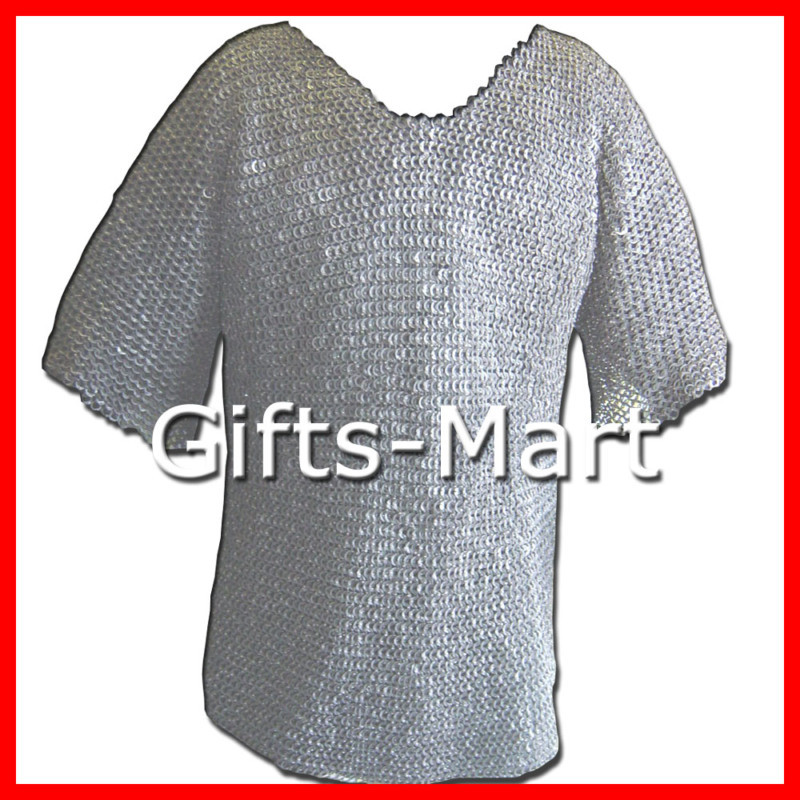 Riveted chainmail shirt size M, flat rings Chain Mail Armor Reenactment costume