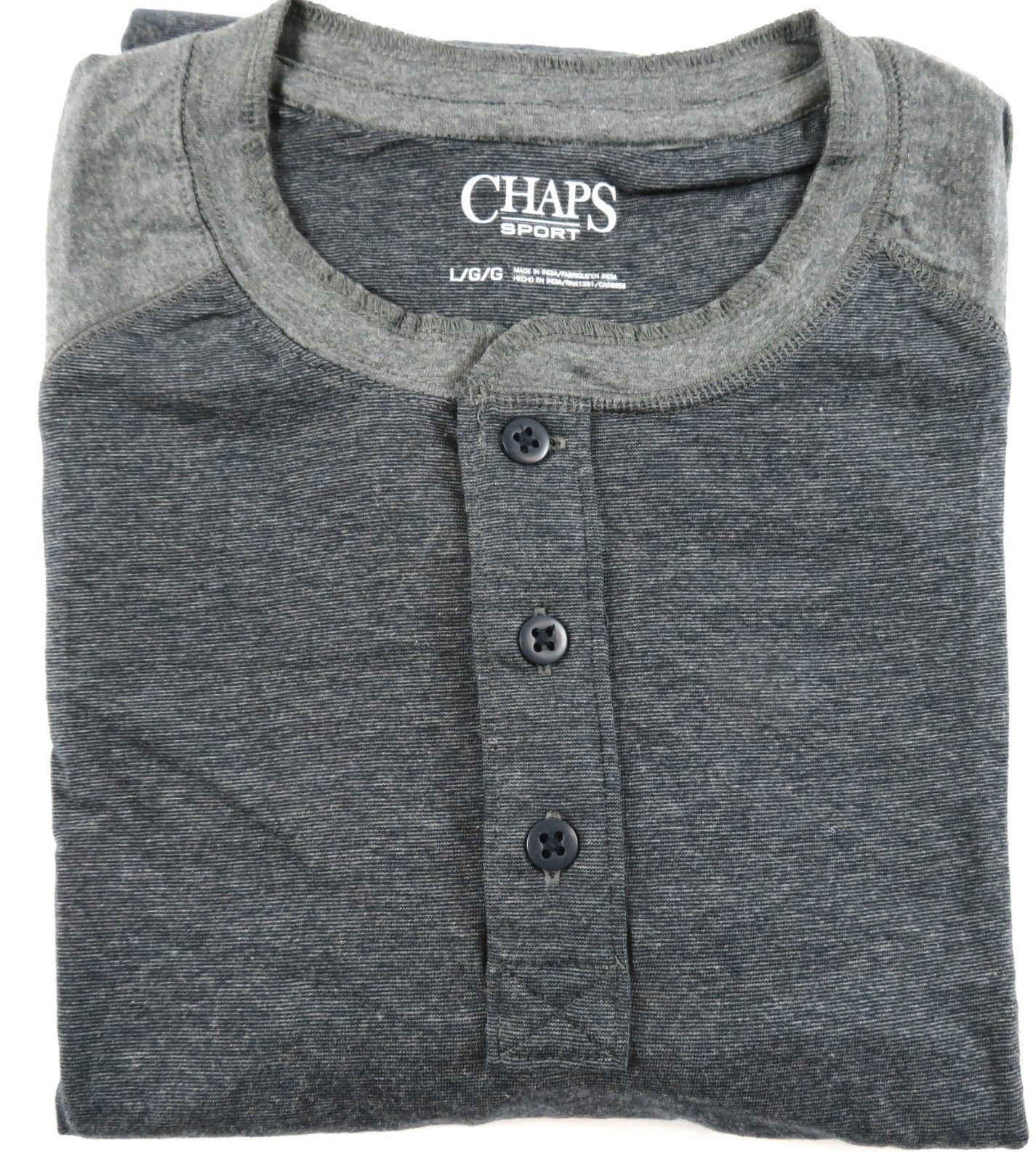 Chaps Sport Men's Henley Classic Fit Raglan Shirt Long Sleeve Tee Fine Charcoal