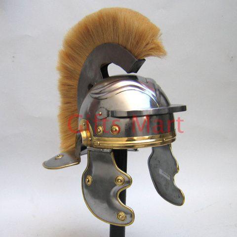 Roman Centurion Helmet, +Free LINER, Fancy Gallic Medieval Larp Military Armor)(