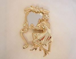 Art Nouveau reproduction woman real mirror Brooch AJC - $60.00