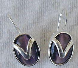 Purple with silver earrings