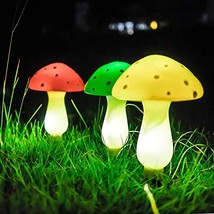 Set of 3 Outdoor Garden Solar Powered Mushroom Pathway Light Patio - $25.64