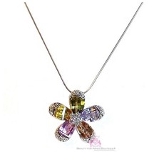 Petals Cubic Zirconia Multi Color White Gold Plated Cz Flower Bloom Necklace - $47.50
