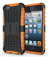 Hard & Soft Rubber Hybrid Case Cover For Apple iPod Touch 6th Gen - Orange  - $4.99