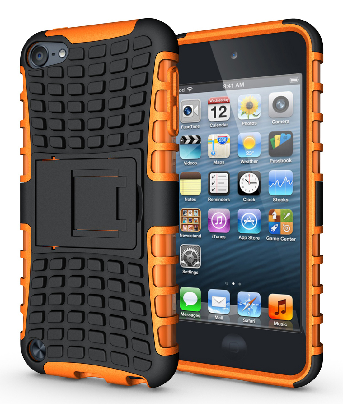 Kstand hard soft rubber hybrid case cover for apple ipod touch 6th gen orange p20151206153158119