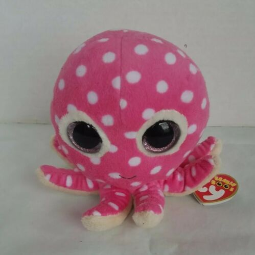"Primary image for Ty Beanie Boo Ollie Octopus Sparkle Eyes Pink Polka Dot Bean Plush 5"" New"