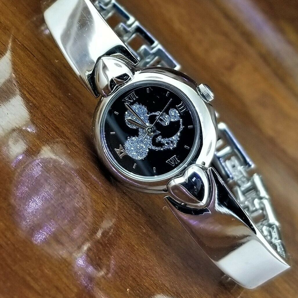 New Womens Disney SII By Seiko Mickey Mouse Diamond Dust Silhouette Watch