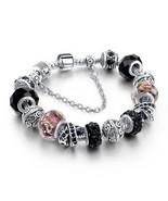 NEW European Charm Bracelet/Bangle BLACK Crystal/Bead Chain~Huge Fashion... - $29.69