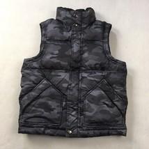 Gap Kids Sz S 6-7 Vest Black Gray Camouflage Sleeveless Lined Sherpa Neck - $15.22
