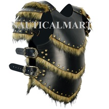 NauticalMart Leather Armor W/Pauldrons Warriors Barbarian Cosplay Black Armor - $399.00