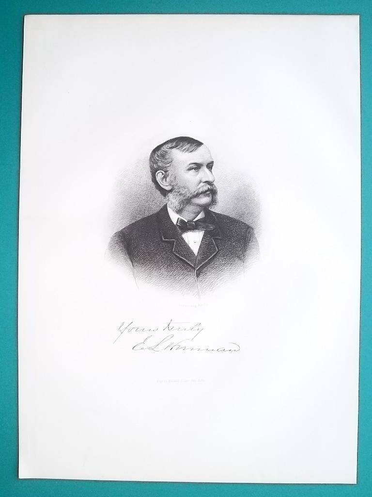 EDWARD HINMAN Ohio Banker & Farming Manufacturer - 1883 Superb Portrait Print