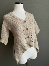 Anthropologie Moth Cropped Cardigan Sweater Asymmetrical Button Up Tan t... - $21.77