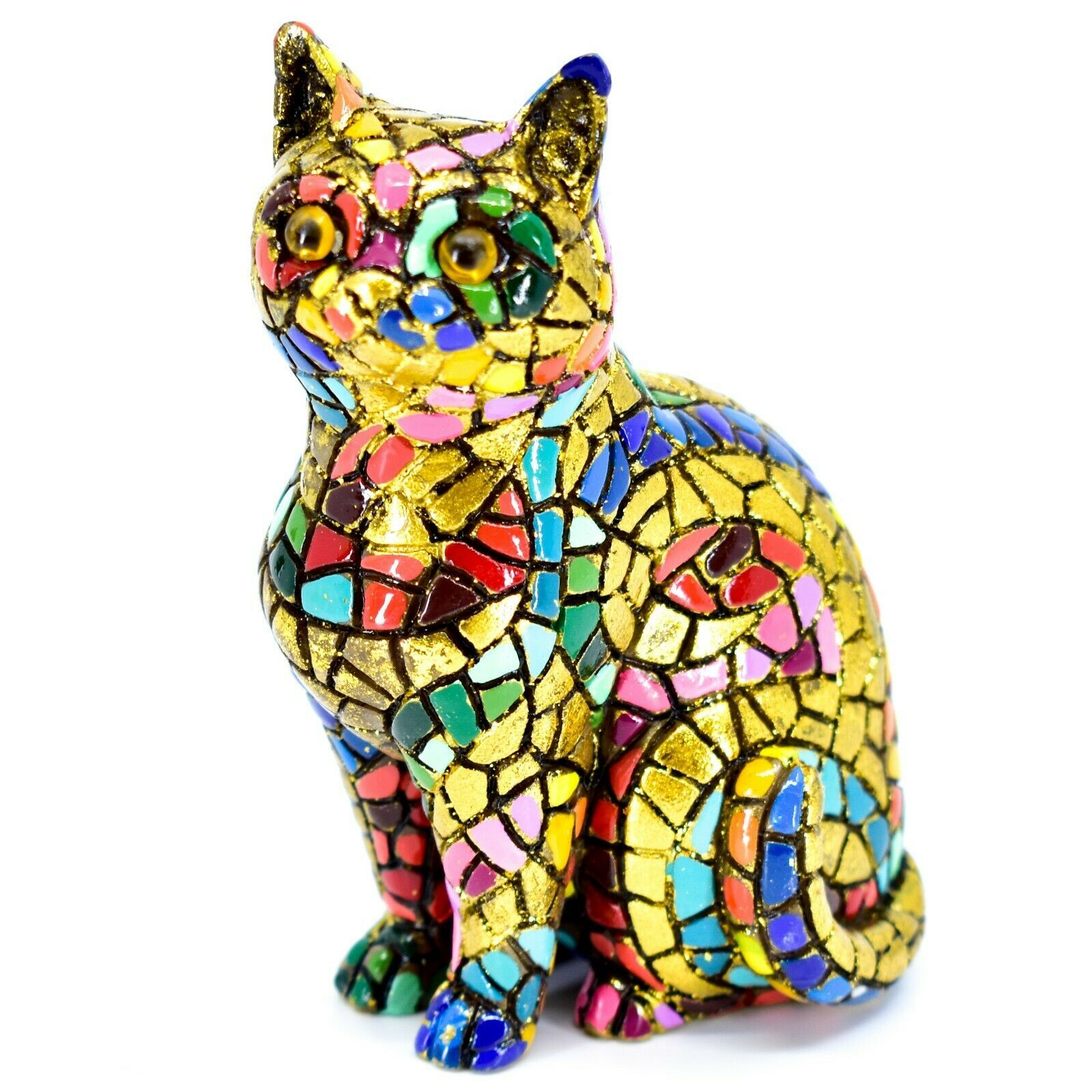 """Barcino Hand Painted Limited Edition Carnival Mosaic 4"""" Cat Kitten Figure 40686"""