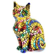 """Barcino Hand Painted Limited Edition Carnival Mosaic 4"""" Cat Kitten Figure 40686 image 1"""