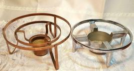 2 Vintage Inland Coffee Warmers, Blown Glass Carafes On Stand 1 Missing Cap image 5