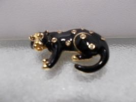 Vintage Swarovski Black Enamel Panther Cat With Rhinestones Pin Brooch - $25.00