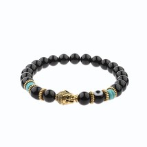OIQUEI Unisex Natural Obsidian Eyes Beads Gold Gasket Charm Buddha Head ... - $9.28