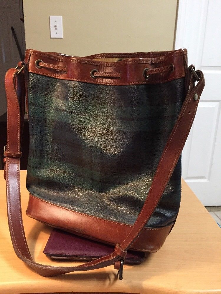 d2e5e30f1f5b Vintage Polo Ralph Lauren Green Plaid Drawstring Bucket Shoulder Bag Purse