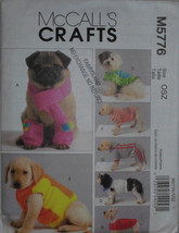 McCall's Fashion Crafts Pets Dogs M5776 Pattern Coats Scarfs Leg Warmers... - $12.00