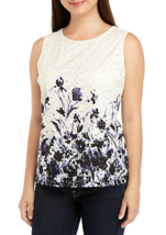 NWT TOMMY HILFIGER WHITE BLUE FLORAL COTTON  CAREER BLOUSE SIZE M  $59 - $24.99
