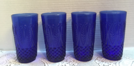 VTG Royal Sapphire Cristal D'Arques Pressed Glass Tumblers Juice/water G... - $20.00