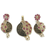 Pa P014  New Bollywood Designer Pearls, Ruby & Polki Golden Pendant Earr... - $62.42