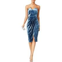 JAX Dress Sz 16 JAX Black Label Blue Velvet Strapless Special Occasion C... - $24.18