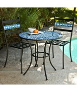 Ocean Waves Blue Mosaic Wrought Iron Small Space Patio Dining Set Bistro... - $444.01