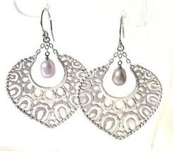 SILPADA .925 Sterling Silver Gray Pearl Teardrop Cutout Earrings W1813 RARE - $56.00