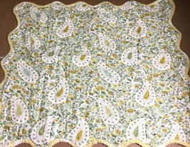 WAVERLY Standard Pillow Sham Quilted YELLOW Green Floral cotton Scalloped Edge - $16.15