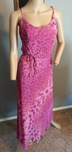 Vtg 90's Betsey Johnson NY Pink Psychedelic Tiger Animal Print Slip Dress M - $132.99