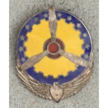 WWII Army Air Corps Propeller Wings Sterling Silver Enamel Pinback Badge - $19.80