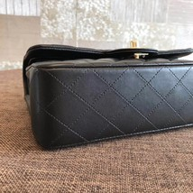NEW AUTH CHANEL 2019 SMALL Quilted Lambskin Classic Black Double Flap Bag GHW image 6