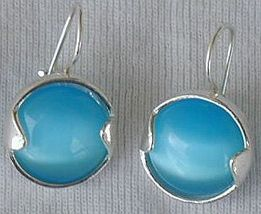 Round light blue earrings - $24.00