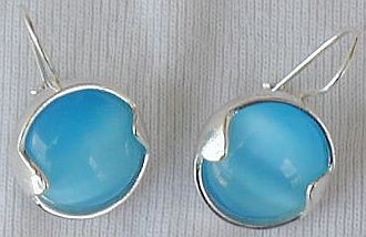 Round light blue earrings