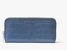 Michael Kors Mercer Continental ZA wallet Croc Embossed Leather Denim Blue NWT - $69.30