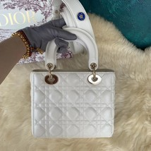 100% AUTH Christian Dior White Lady Dior Cannage Lambskin Shoulder Tote Bag GHW image 3